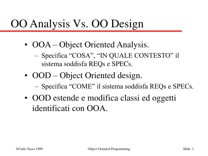 Oo analysis vs oo design