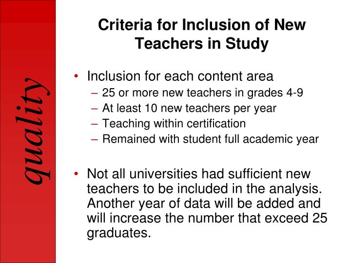 Criteria for Inclusion of New Teachers in Study