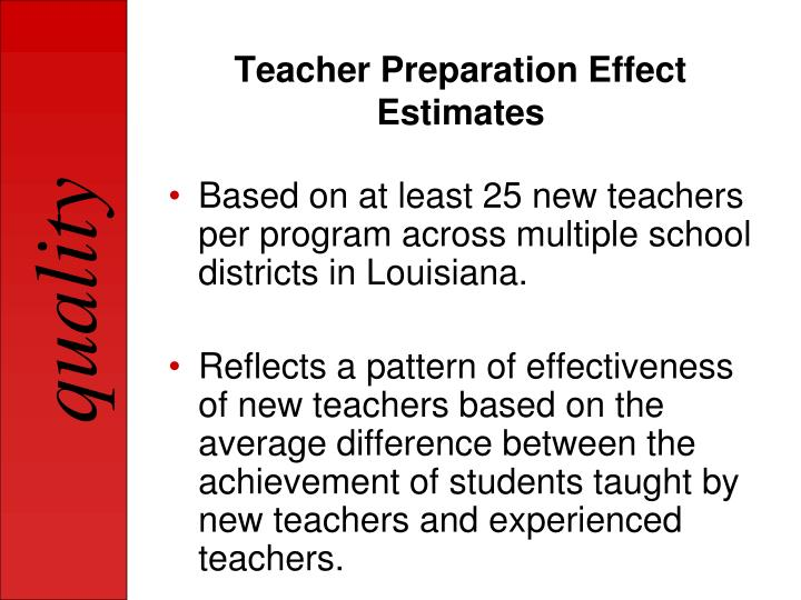 Teacher Preparation Effect Estimates