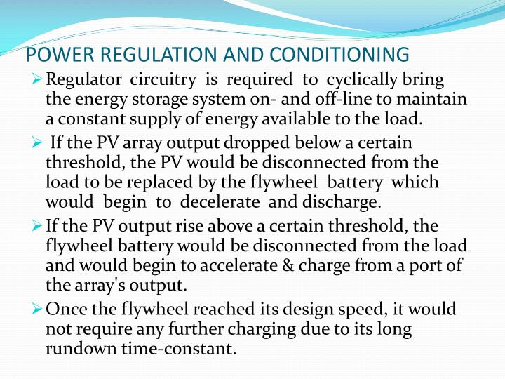 POWER REGULATION AND CONDITIONING