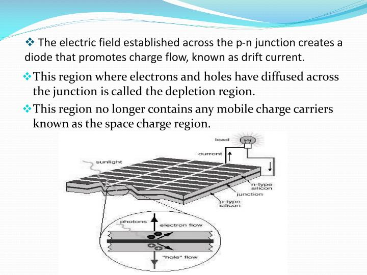 The electric field established across the p-n junction creates a           diode that promotes charge flow, known as drift current.