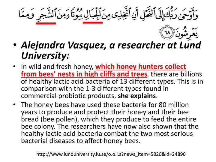 Alejandra Vasquez, a researcher at Lund University: