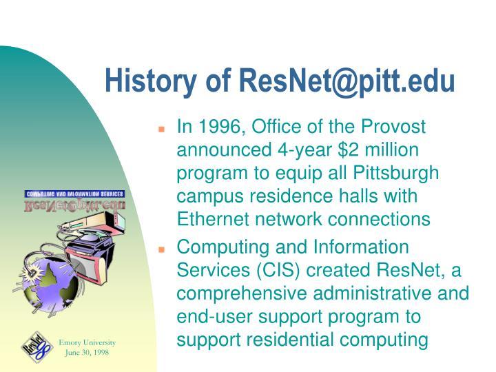 History of ResNet@pitt.edu