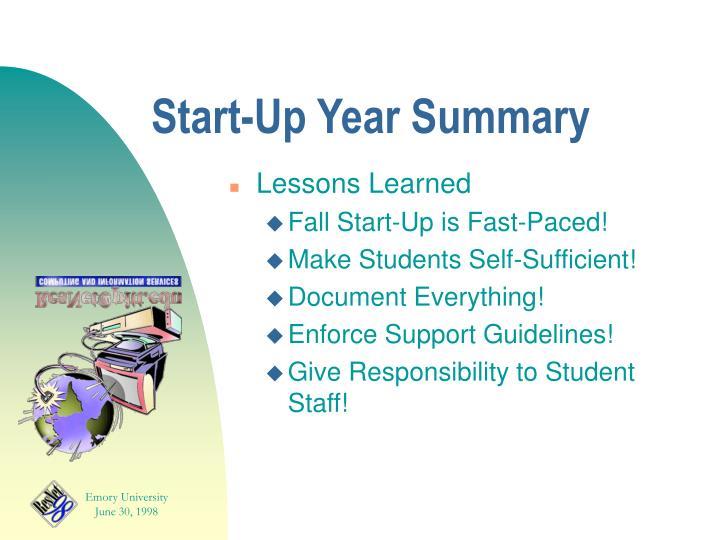 Start-Up Year Summary