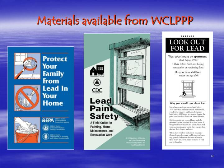 Materials available from WCLPPP