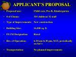 applicant s proposal