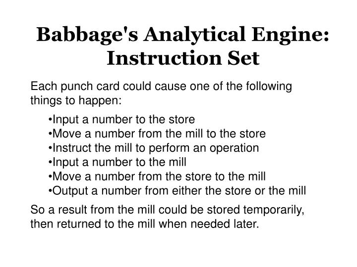 Babbage's Analytical Engine: