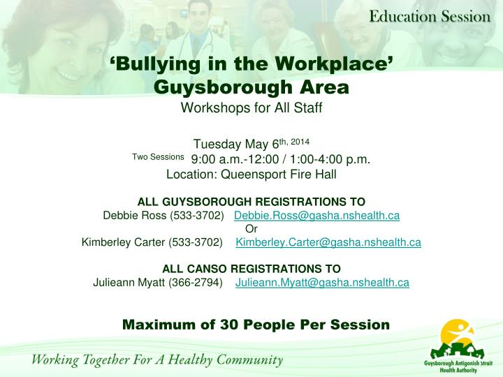 Bullying in the workplace guysborough area workshops for all staff