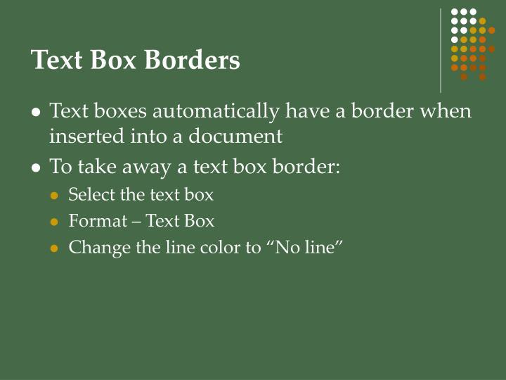 Text Box Borders