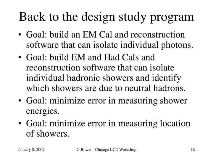 Back to the design study program