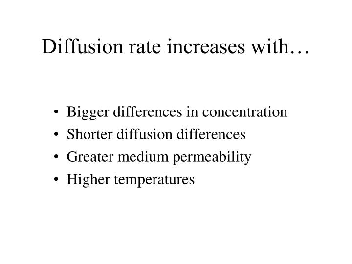 Diffusion rate increases with…
