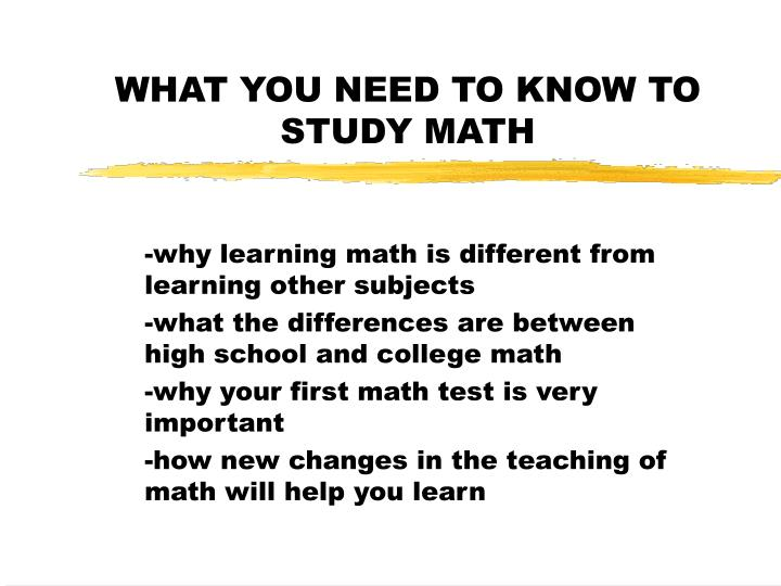 what you need to know to study math n.