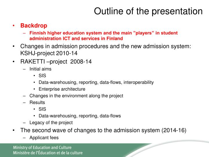 Outline of the presentation1