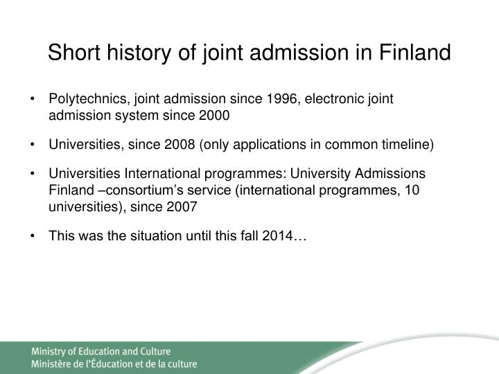 Short history of joint admission in Finland