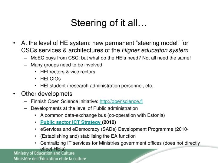 Steering of it all…