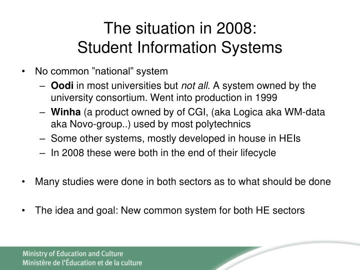 The situation in 2008:
