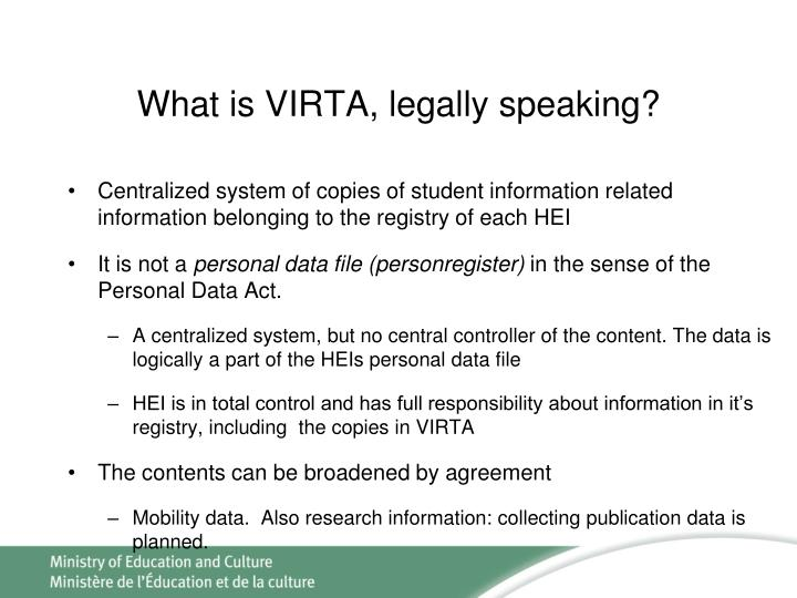What is VIRTA, legally speaking?