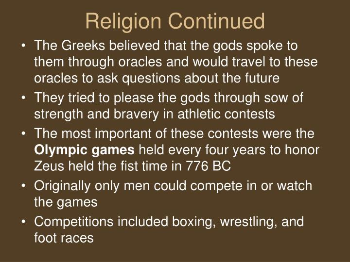 Religion Continued