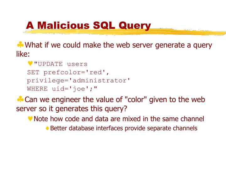 A Malicious SQL Query