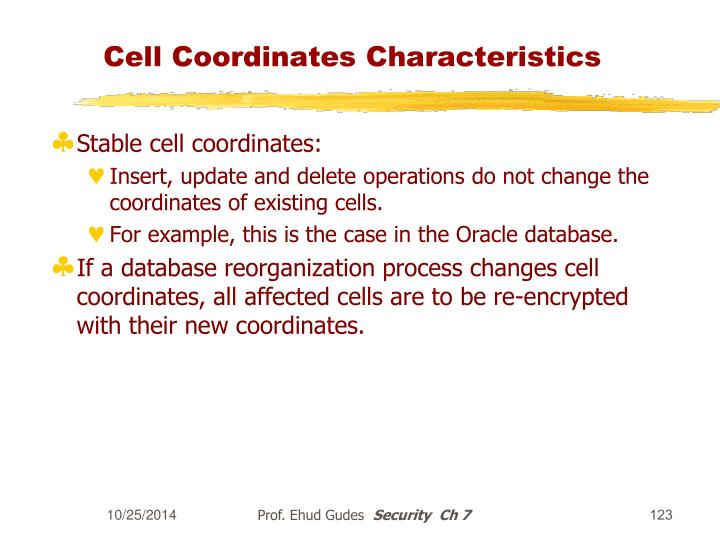 Cell Coordinates Characteristics