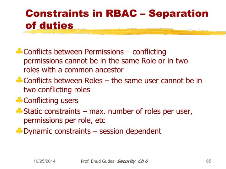 Constraints in RBAC – Separation of duties