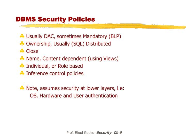 DBMS Security Policies