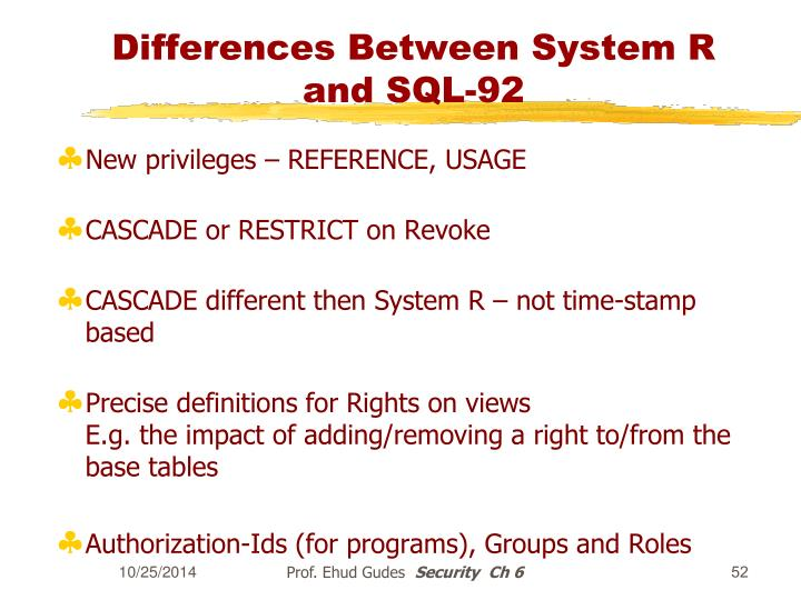 Differences Between System R and SQL-92