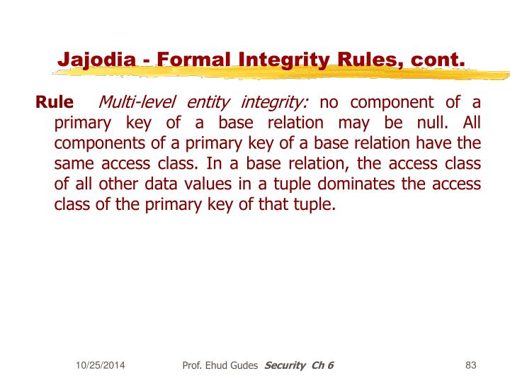 Jajodia - Formal Integrity Rules, cont.