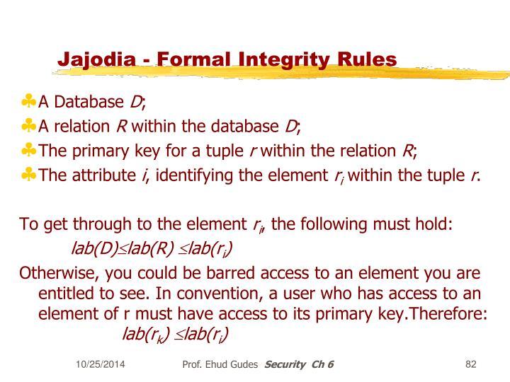 Jajodia - Formal Integrity Rules