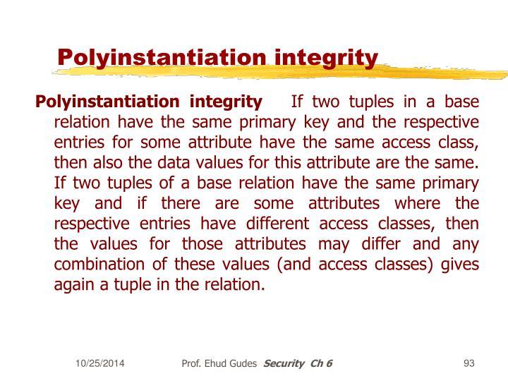 Polyinstantiation integrity