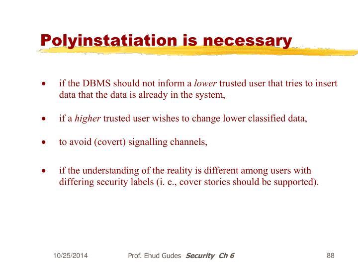 Polyinstatiation is necessary