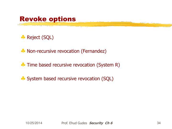 Revoke options