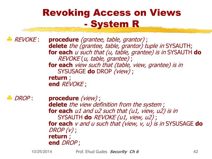 Revoking Access on Views