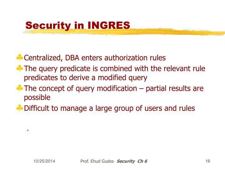 Security in INGRES