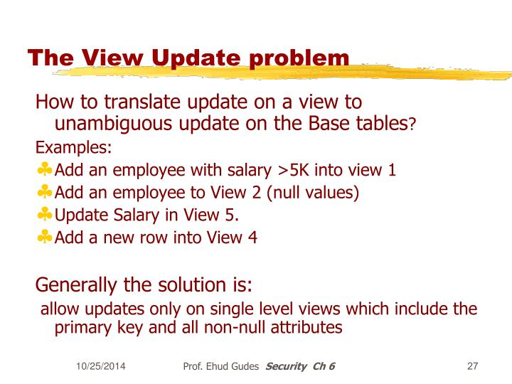 The View Update problem