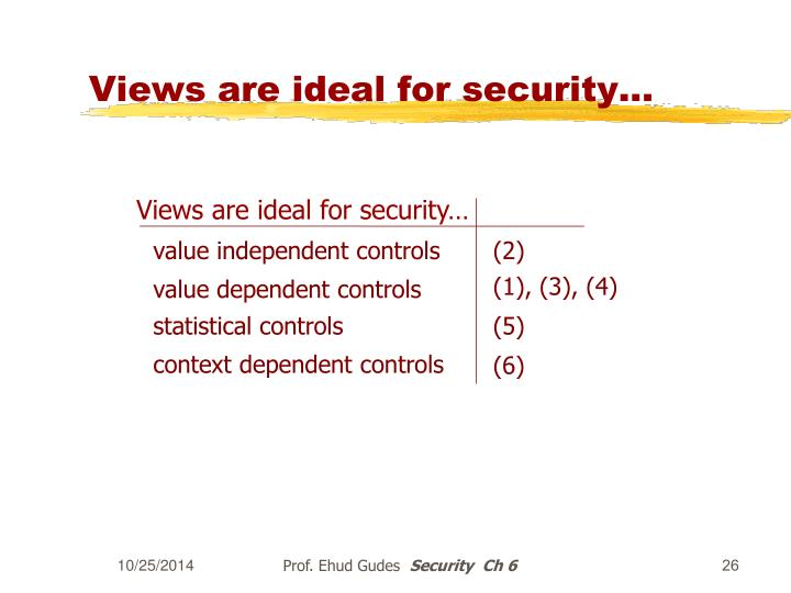 Views are ideal for security...