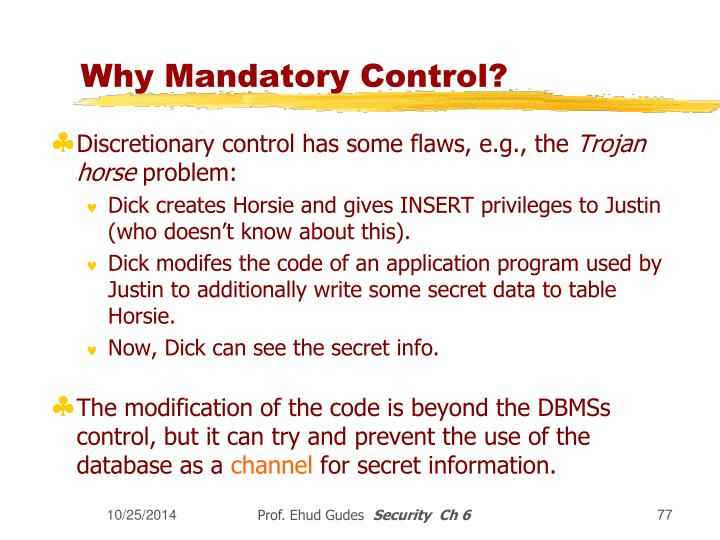 Why Mandatory Control?
