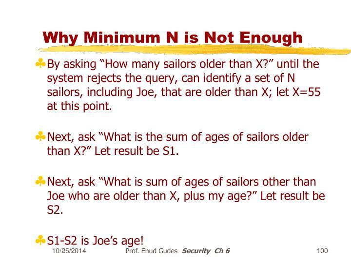 Why Minimum N is Not Enough