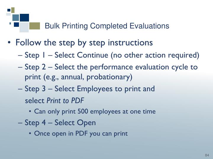 Bulk Printing Completed Evaluations