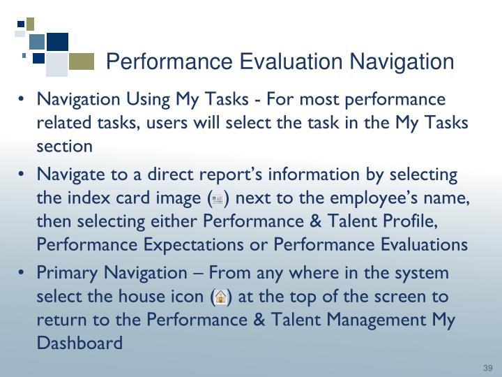 Performance Evaluation Navigation