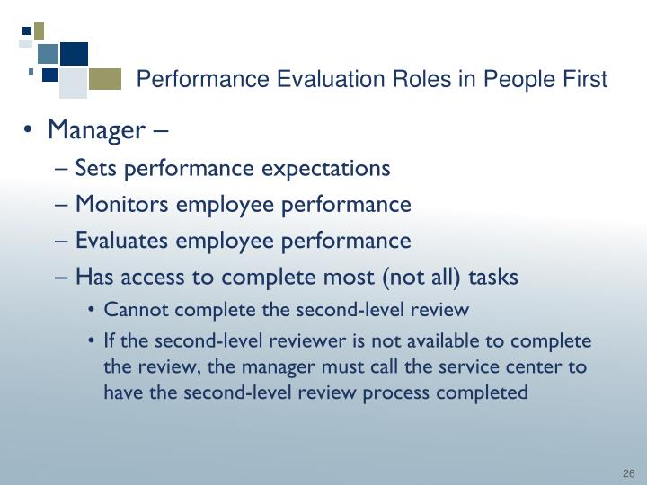 Performance Evaluation Roles in People First