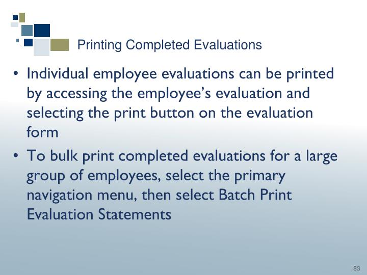Printing Completed Evaluations