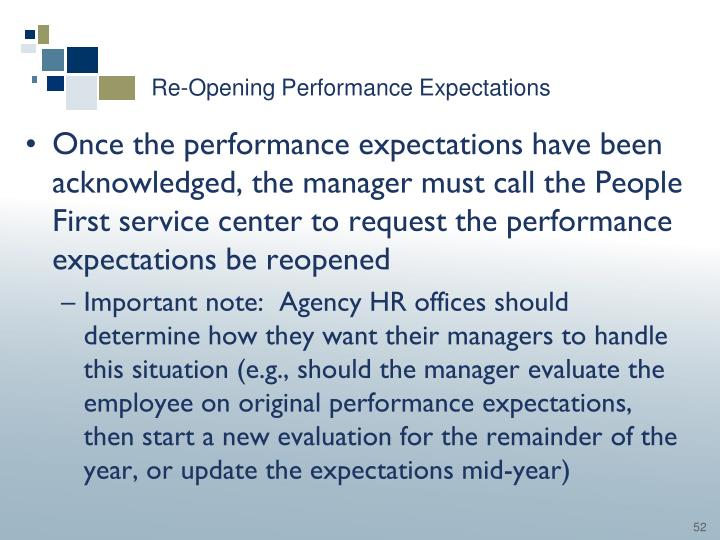 Re-Opening Performance Expectations