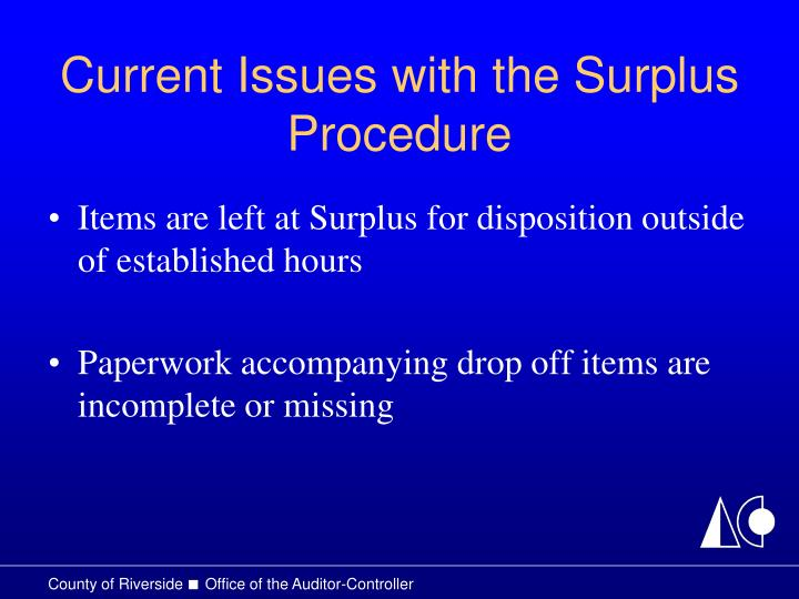 Current Issues with the Surplus Procedure