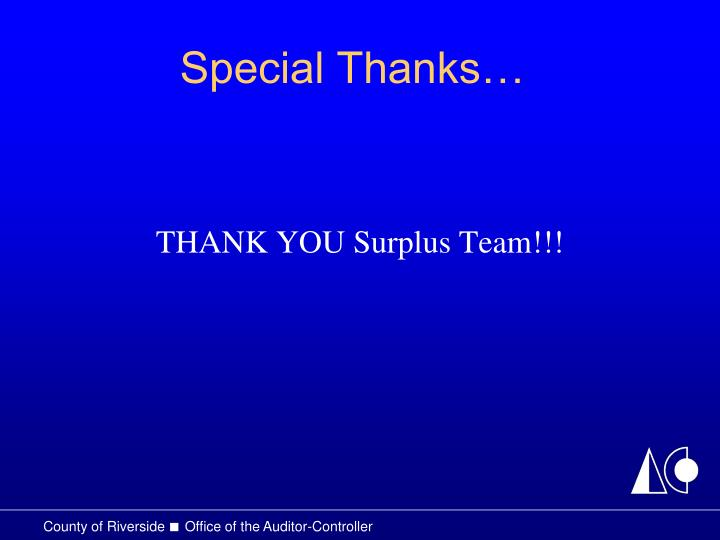 Special Thanks…