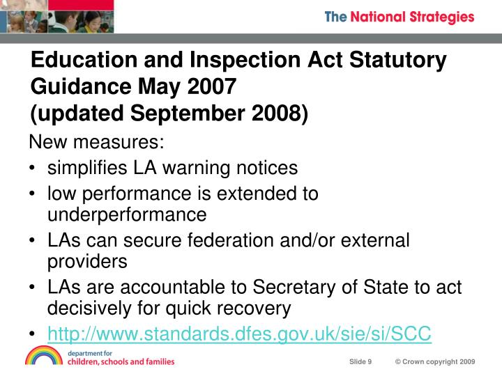 Education and Inspection Act Statutory Guidance May 2007
