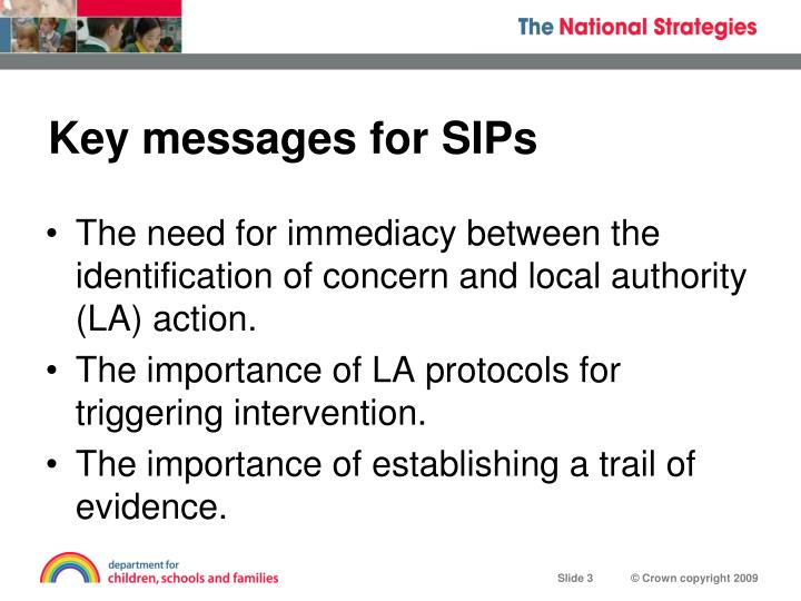 Key messages for sips