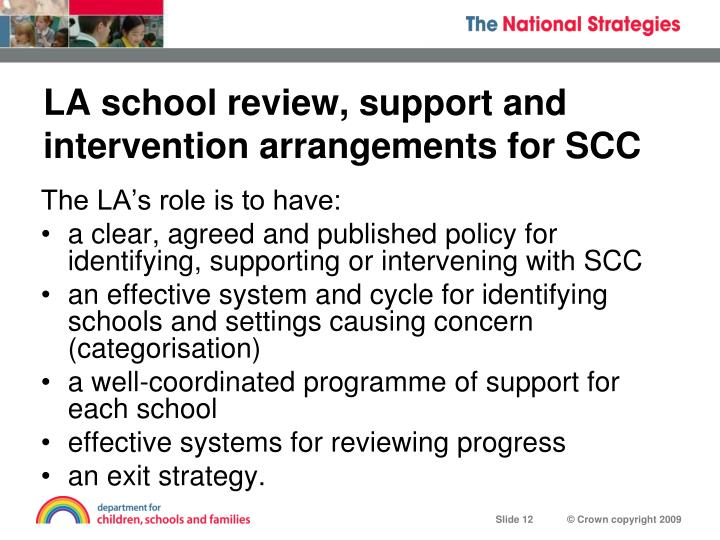 LA school review, support and intervention arrangements for SCC