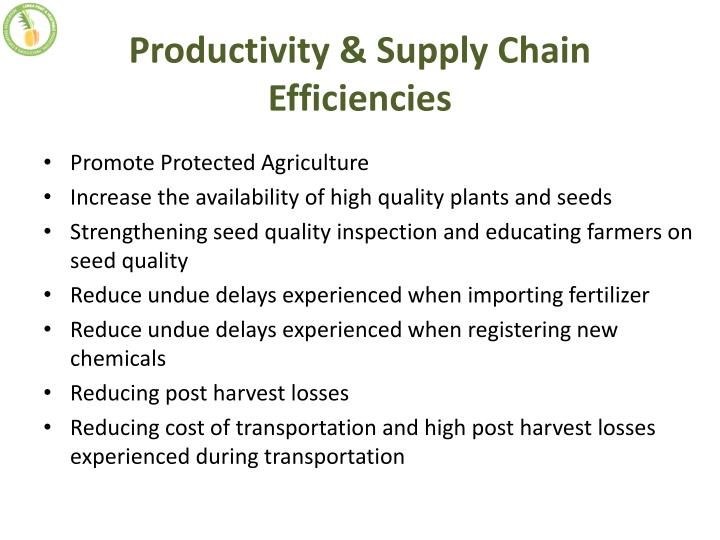 Productivity & Supply Chain Efficiencies
