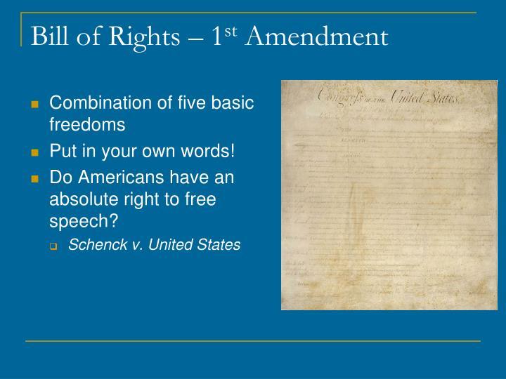 Bill of rights 1 st amendment